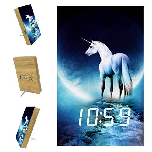 Despertador Infantil Unicornio Relojes De Alarma Digitales Reloj De Mesa Y Mesita De Noche para Habitación De Niños con Carga USB 10x16x2.4cm