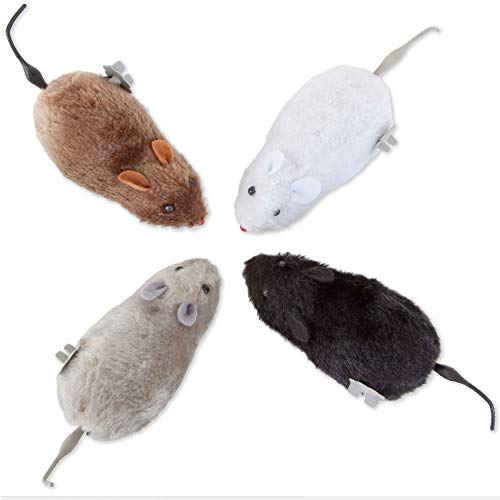 Bits and Pieces - Wind Up Racing 4 Mice-Realistic Looking Mice, Carefree pet - Set of 4: Black, Gray, White and Brown. Each Measures 4-1/2' Long