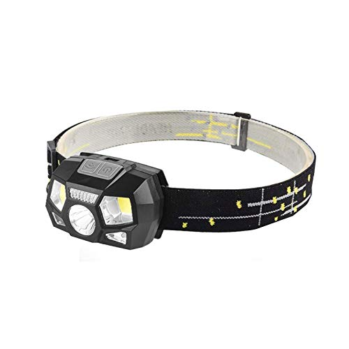 XTZJ Linterna de faro de Digits Soft, 1000 lúmenes USB Faro recargable, 5 modos Luz de trabajo, luces de cabeza impermeables con sensor de movimiento y baterías incorporadas para exteriores, hogar
