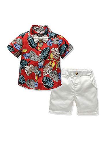 2 Piezas Traje de Caballero para Bebé Niños Conjunto Informal Camisa de Manga Corta con Lazo y Estampado de Hojas + Pantalones Cortos de Color Sólido para Playa Viaje (Rojo, 12-18 Meses)