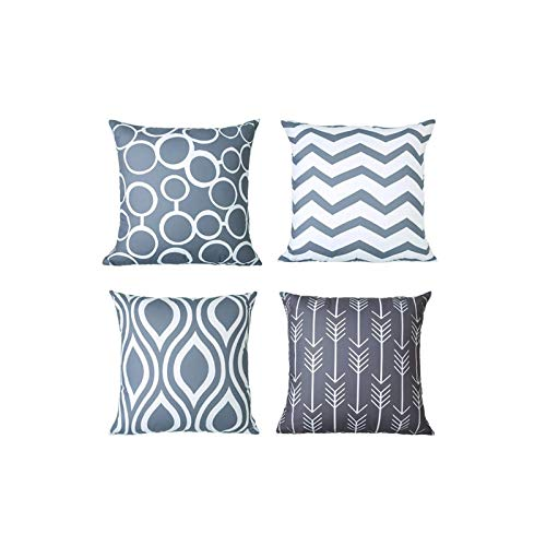 Celucke Set of 4 Geometric Decorative Throw Pillow Covers, 18inch x 18inch Cotton Linen Pillowcases for Sofa Couch Car Bedroom Chair Home Decoration