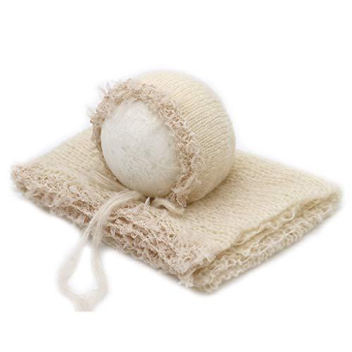 MINGSTORE 2 Stück/Set Neugeborene Fotografie Requisiten Spitzenwickel mit Hut Niedlicher Stretch Soft Mohair Quaste Babydecke Kleidung Anzug