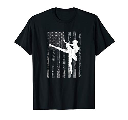 Amerikanische USA-Flagge Ballerina Ich liebe Ballett Tanzen T-Shirt