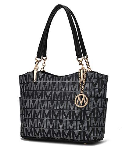Mia K Collection Shoulder Handbag for Women: Vegan Leather Satchel-Tote Bag, Top-Handle Purse, Ladies Pocketbook Black