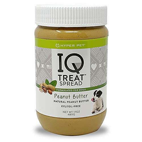 Hyper Pet IQ Treat Spread Dog Peanut Butter (100% Natural-Xylitol Free Peanut Butter for Dogs-Use IQ Treat Mat Lick Mat for Dogs) Dog Treats, Dog Snacks & Pill Pockets for Dogs-Natural