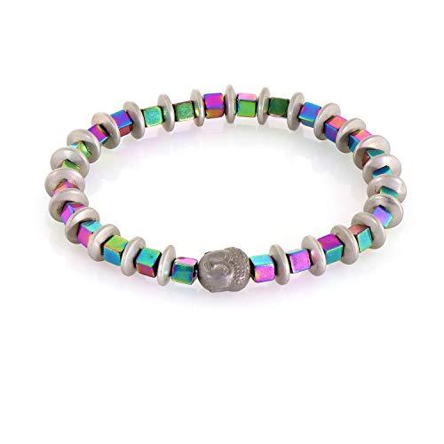 Pulsera de hematita, pulsera de cuentas, joyería de hematita de plata, brazalete de hematita arcoíris, pulsera de diseñador, joyería hecha a mano, regalo de Navidad