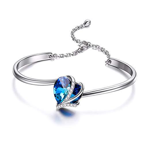 Herz Armband Sterling Silber Damen Einstellbar Armreif mit Blau Rosa Kristallen von Swarovski, Geburtstag Hochzeitstag Geschenke für Mutter Frauen Freundin