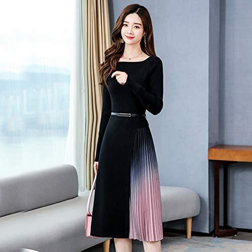Elegante Slanke Gebreide Patchwork met Lange Mouwen Gradiëntkleur Geplooide Sweaterjurk Zomerjurk voor Dames Midi-Jurk met Riem
