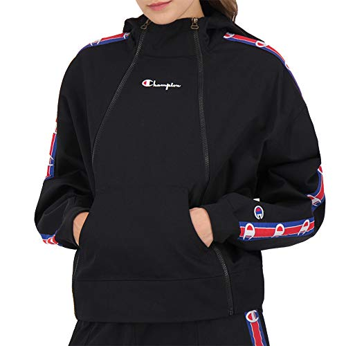 Champion Double Zip Logo Tape Utility Hooded Jacket Nero S