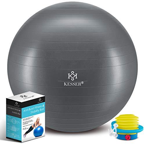 KESSER® Gymnastikball mit Luftpumpe Pumpe - Dicker Yogaball 65cm BPA-Frei | Sitzball Büro Anti-Burst als Fitness Yoga Core Büro-Stuhl als Fitness Kleingeräte, Balance Stuhl Gym-Home-Büro, Grau