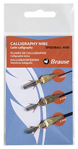 Brause 16505B - Confezione di 3 pennini Speedball: 1 mm, 2 mm e 3 mm