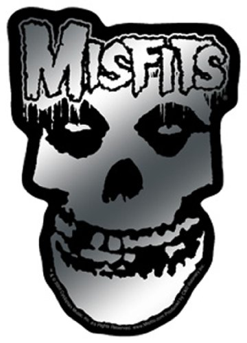 """MISFITS Chrome Logo and Skull Schädel STICKER, Officially Licensed Products Classic Rock Artwork, 4.75"""" x 3.75"""" - Long Lasting Sticker AufkleberDECAL"""