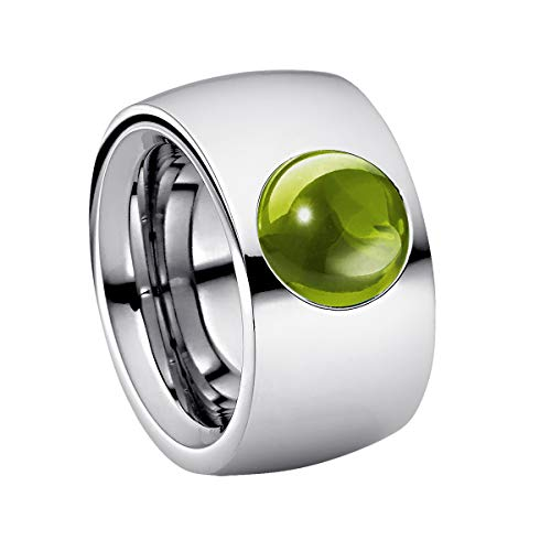 Heideman Ring Ladies Coma14 Cabo Stainless Steel Silver Colored matt Ladies Ring for Women with cabochon Color Olive Gr. 56