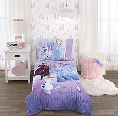 Disney Frozen 2 Lavender, Light Blue & Purple Forest Spirit 4Piece Toddler Bed Set - Comforter, Fitted Bottom Sheet, Flat Top Sheet, Reversible Pillowcase, Lavender, Light Blue, Purple, White