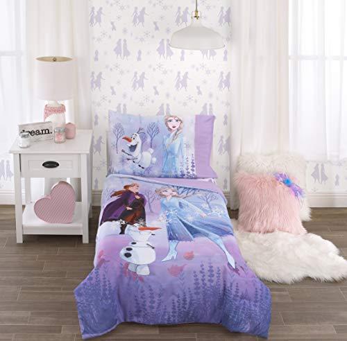 Disney Frozen 2 Lavender, Light Blue and Purple Forest Spirit 4 Piece Toddler Bed Set - Comforter, Fitted Bottom Sheet, Flat Top Sheet, Reversible Pillowcase