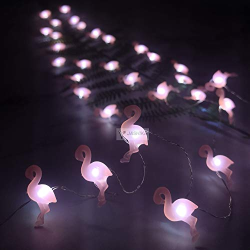 Summer Decoration Pink Flamingo String of lights, Tropical themed Coral Mini Bird Ornaments 10 feet 40 LEDs with Timer and 9 Lighting Modes Remote Control for Home Wedding Birthday Party Camping Decor