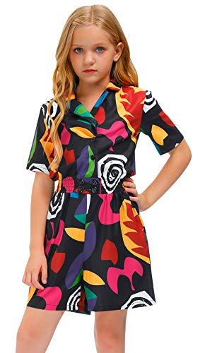 BesserBay Toddler Girl's Season 3 Eleven Cosplay Halloween Costume Black Geometric V Neck Romper Outfit 5-6 Years