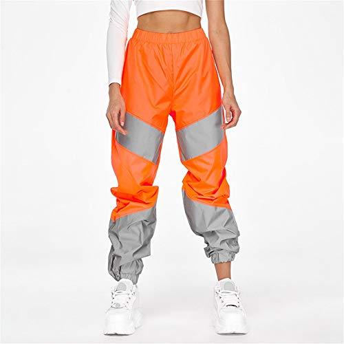 Reflektierende Hose, mittlere Höhe, für Freizeit, Joggen, Discotheen, fluoreszierende Hosen M Orange