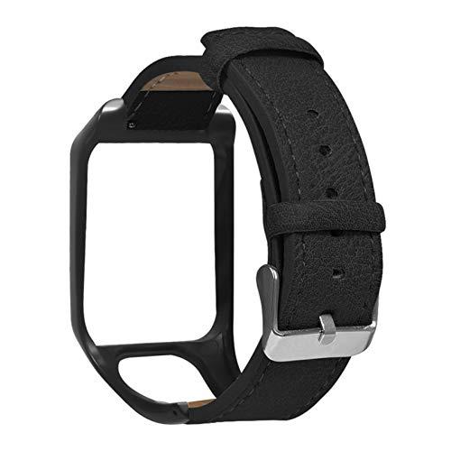 NICERIO Pulseira Compatível com Tomtom Runner 3 – Pulseira de couro de substituição ajustável com amortecedor de relógio para homens e mulheres