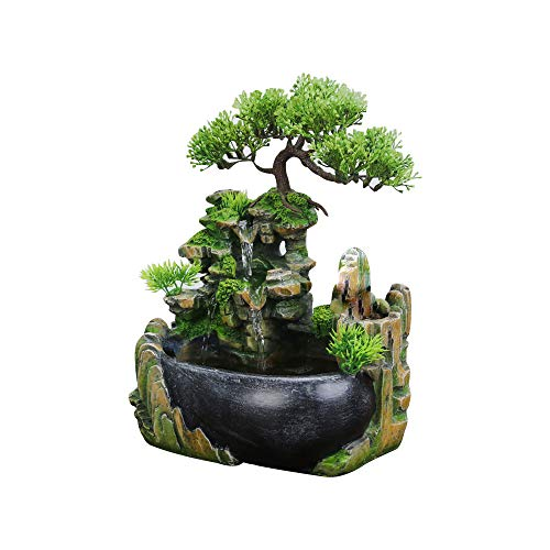 Indoor Relaxation Desktop Fountain Waterfall, Zen Meditation Indoor Waterfall Feature with Automatic Pump, Illuminated Waterfall for Home Office Bedroom Desk Décoration (Standard)