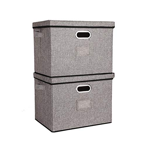 Foldable Large-Capacity Storage Bins with Lids and Metal Handle, Closet Organizers and Storage Bins for Living Room, Bedroom, Nursery, Closet, Dormitory or Office, 2-Pack