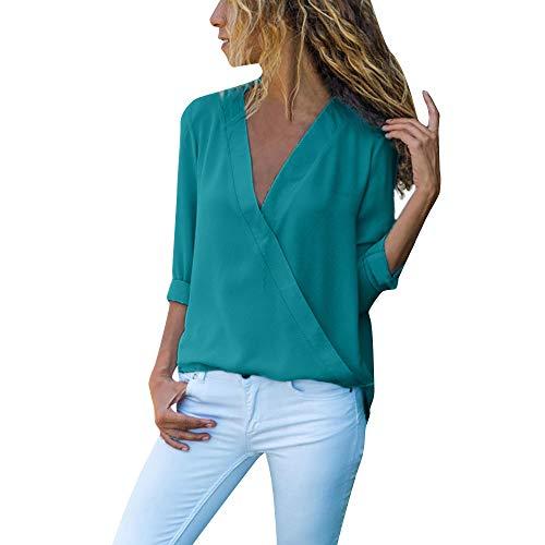 OSYARD Damen Sexy Farbe V-Ausschnitt Sweatshirt Plus Größe Lose, Frauen Casual Wrap V-Ausschnitt Roll Up Langarm Solid Blusen Shirt Tops Tunika Pullover (S, Grün)