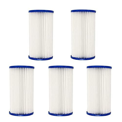 HXiaoF Juego de 5 filtros de piscina para bombas de filtro de piscina tipo A/C, cartuchos de repuesto universales para limpieza de piscinas (color blanco)