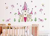 Pegatina de pared de castillo de princesa rosa desmontable, nueva colección, torre de pared para niñas/niños R
