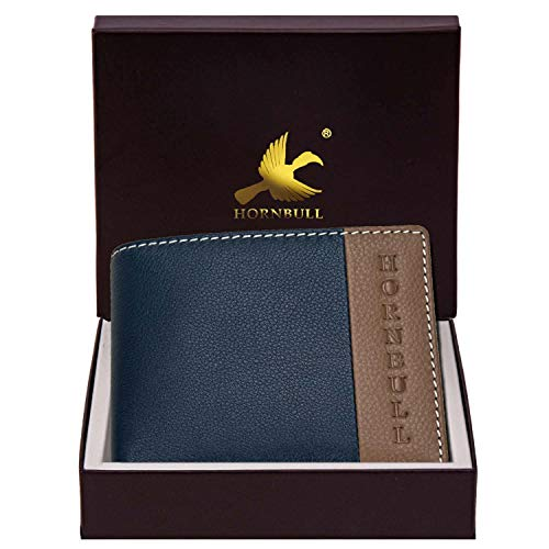 Hornbull Taylor Navy/Mud Mens Leather Wallet – Premium Quality Leather Wallet for Mens & RFID Blocking Genuine Leather Mens Wallet