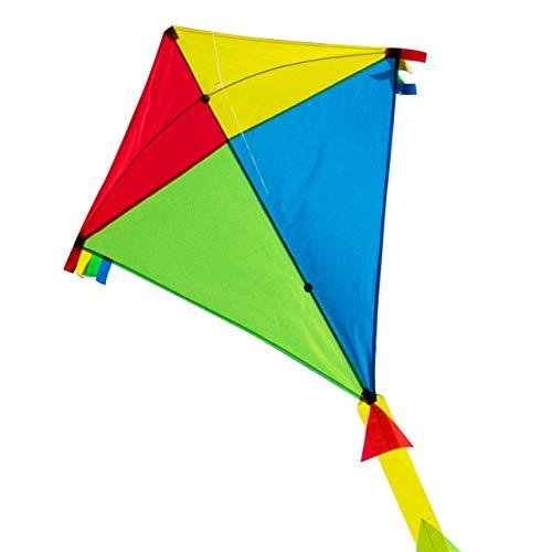 CIM Grande aquilone - SUPER DRACHEN Rainbow Eddy XL - Aquilone monofilo per bambini a partire da 6 anni - 90 x 98 cm - comprende corda per aquilone da 80 m e coda a strisce