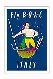 Pacifica Island Art Venecia, Italia-Fly BOAC (British Overseas Airways Corporation)-Cartel del Viaje del Mundo del Vintage por Aldo Cosomati c.1953-Fine Art Print-30 x44in