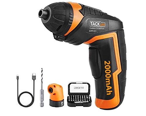 TACKLIFE SDP51DC Electric Screwdriver, 4.0V MAX 2.0Ah Li-ion Cordless Screwdriver Rechargeable, 4N.m, 33pcs Accessories, USB Fast Charging, With LED, for Mounting Furniture, Shelves, Mini-blind etc.