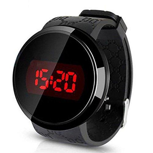 Yangyme LED Touchscreen Armbanduhr Unisex Sportuhr Gegenlicht Elektronische Uhren Digitalanzeige Armbanduhr für Herren Kinder Schwarz