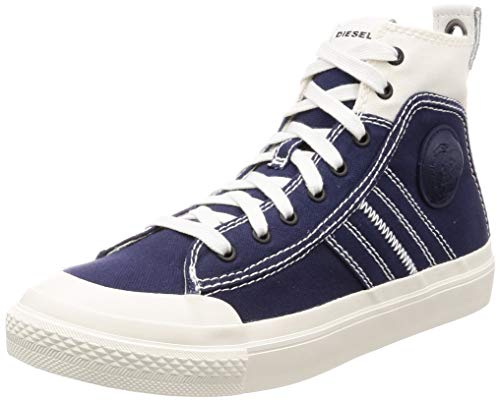 Diesel Men's S-ASTICO LACE-Sneaker mid, Star White/Peacoat Blue, 12 M US