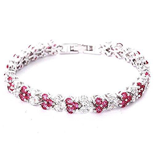 findout - Elegante braccialetto da donna/ragazza con cristalli per cerimonie nuziali -, Argento, colore: pink 1, cod. findout