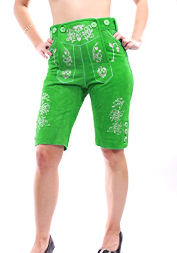 Trachten Lederhose für Damen Kniebund Trachtenhose grün oder weinrot