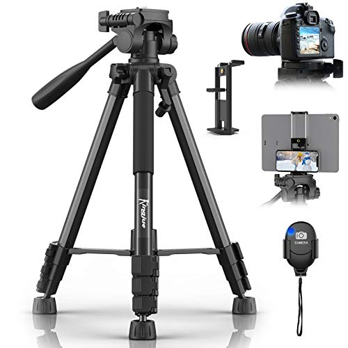 "KINGJUE 60"" Camera Tripod for Canon Nikon Lightweight Aluminum Travel DSLR Phone Camera Tripod with 2 in 1 Phone Tablet Holder/Remote Shutter/Carry Bag"