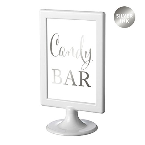 Andaz Press Framed Wedding Party Signs, Metallic Silver Ink, 4x6-inch, Candy Bar Reception Dessert Table Sign, Double-Sided, 1-Pack, Colored Decorations