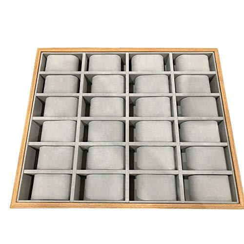 Berkalash Schmuck/Uhr Angeben Tablett Vitrine, 30/24 Slots Watch Organizer Uhrenbox, Holz Uhr Box Organizer, Flanellfutter (30 Slots)