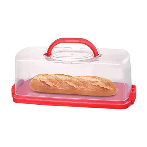 FEOOWV Portable Plastic Loaf Bread Box with Transparent Lid, Bread Keeper for Carrying and Storing Loaf Cakes,Banana Bread,Pumpkin Bread (Red)