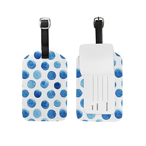 Luggage Tag for Baggage Suitcase Abstract Blueberry Polka Dots Leather...