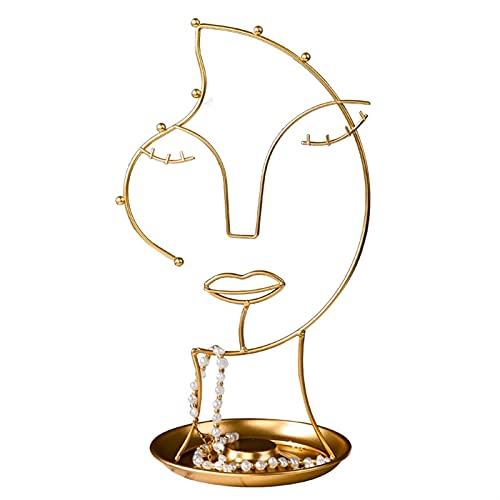 LYLY Soporte de exhibición de joyería de metal para colgar joyas, estante de almacenamiento para collares, pulseras, anillos, decoración de escritorio y joyería (tamaño: pequeño)