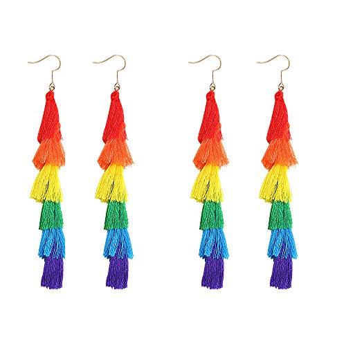 2 Pack of Fashion Tassel Earrings Rainbow Drop Dangle Earrings for Women Girl Pride Parade Accessories LGBTQ Earrings for Women Lesbian