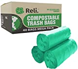 Reli. Compostable Trash Bags 33 Gallon   40 Count   ASTM D6400   Compost Trash & Leaf Bags 30, 32, 33 Gallon Large   Eco-Friendly Garbage Bags (33 Gal)