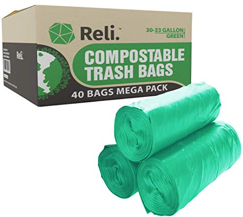 Reli. Compostable Trash Bags 33 Gallon | 40 Count | Eco-Friendly Garbage Bags (33 Gal)
