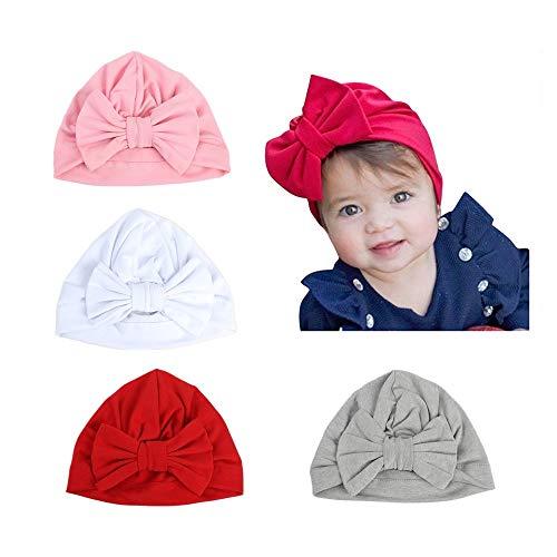 Baby Hat 4 pezzi neonato, 100% cotone morbido, elastico avvolgere la testa avvolgere infantile...