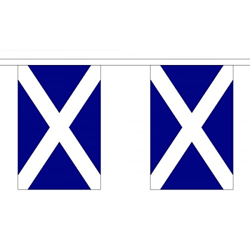 """Ukflagshop 3 Metres 10 (9"""" X 6"""") Flag Scotland Scottish St Andrews Cross Saltire Navy Blue 100% Polyester Material Bunting Ideal Party Decoration For Street House Pubs Clubs Schools"""