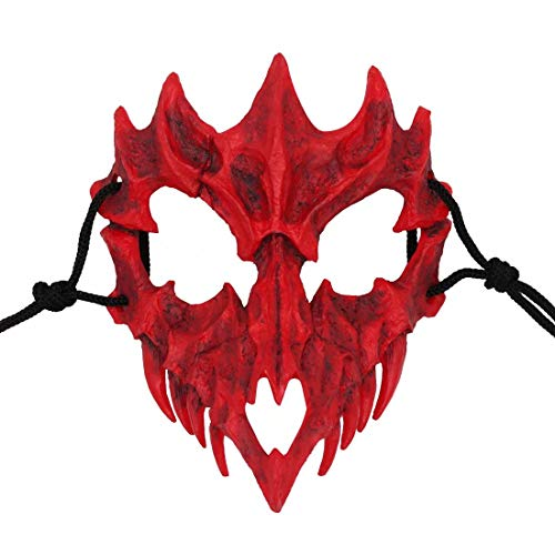 Japanse Masker, Hars Witte Schedel Enge Masker, Halloween Cosplay Kostuum Props, Decoratieve Horror Ninja Masker Prom voor volwassenen Eén maat Dragon God Mask-zwart