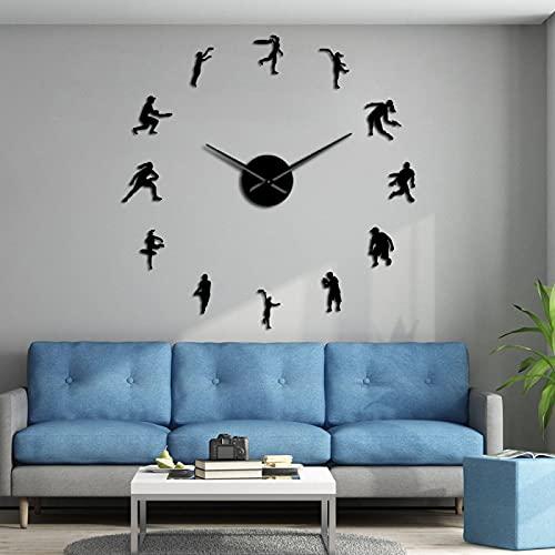 Lrenkey DIY Reloj De Pared - Tenistas DIY Gigante Wall Clock Hombre Y Mujer Tenista Amante De La Sala De Estar Arte Pared Silent Frameless Mirror Efecto Reloj Moderno,Negro,47 Pulgadas