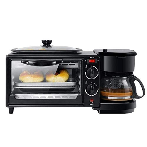 VIWIV Toastie Maker Breakfast Maker Toaster Breakfast Machine Multifunctional 3-in-1 Toaster Mini Electric Oven Coffee Machine Breakfast Station (Color : Black, Size : 45x18x21CM)